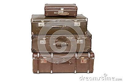 Hoop van oude koffers