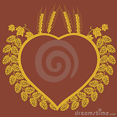 Hop and corn heart design