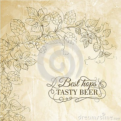 Hop and tasty beer over old paper.