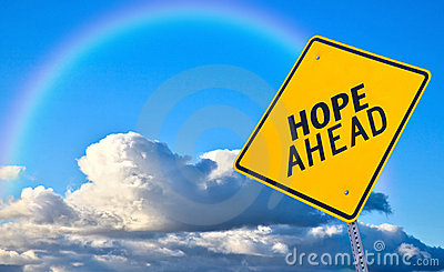Hope ahead road sign