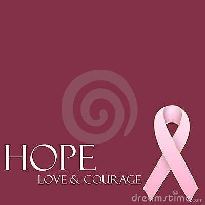 Hope Love & Courage Pink Ribbon Background