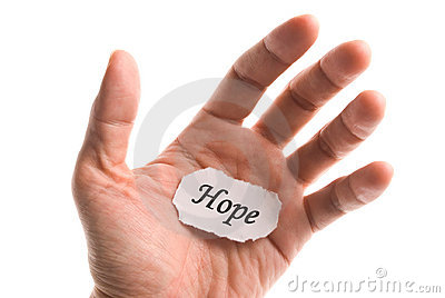 Hope word in hand