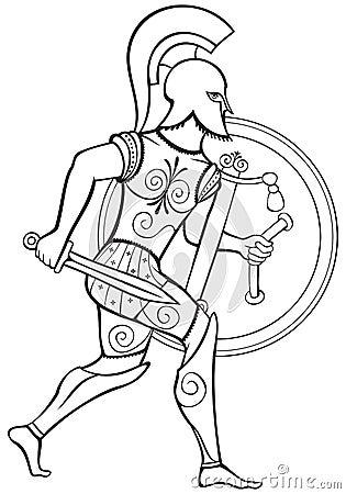 Hoplite Ancient Greek Warrior With Big Round Shield Bronze Armor And