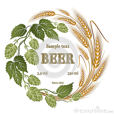Free Hops And Wheat Illustration For Beer Label Stock Photo - 63556980