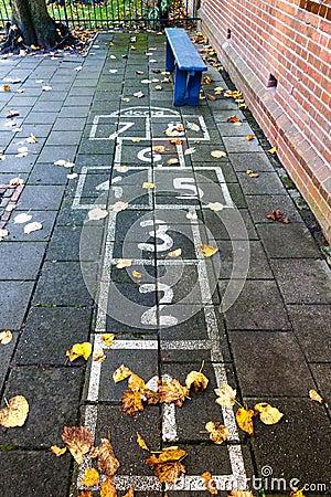 Hopscotch on the schoolyard