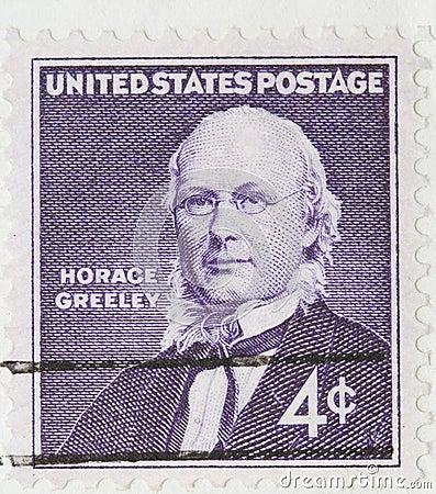 Horace Greeley Vintage 1960 Postage Stamp