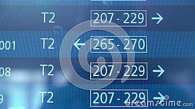 Horaire d'aéroport, l'information de vol de départ mettant à jour, vols internationaux banque de vidéos