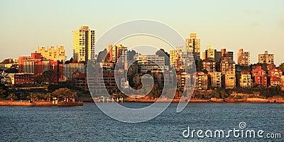 Horisont Kirribilli i Sydney på solnedgången Redaktionell Arkivfoto