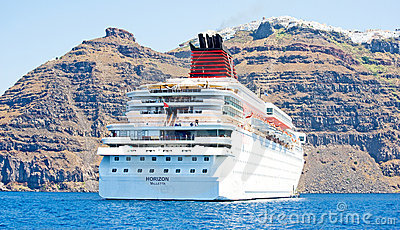 Horizon anchored by Santorini, Greece. Editorial Stock Image