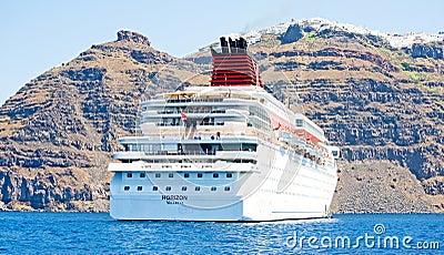 Horizon anchored by Santorini, Greece. Editorial Stock Image