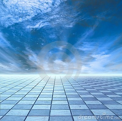 Horizon of blue sky and blue tile