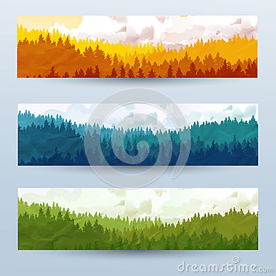 Free Horizontal Abstract Banners Of Hills Of Coniferous Wood With Mountain Goats In Different Tone. Royalty Free Stock Image - 47802826