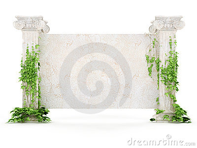 Horizontal antiquity billboard covered with ivy