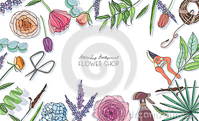 Horizontal background with flowers for advertising, floral shop, salon. Hand drawn composition with place for text. Vector Illustration