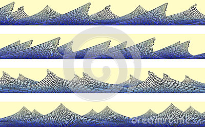 Horizontal banner: mosaic of wave with foam.