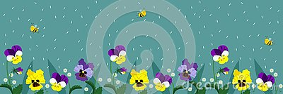 Horizontal banners with cute bees and flowers. A poster with flying bees and falling petals of turquoise color. vector Stock Photo