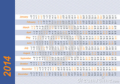 2014 Horizontal calendar