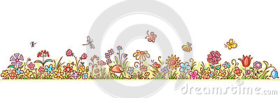 Horizontal Cartoon Flower Border Vector Illustration