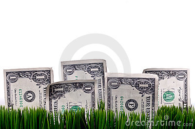 A horizontal closeup of a dollar bills stashed in