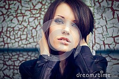 Horizontal closeup woman portrait