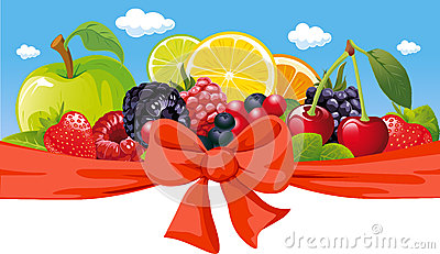 Horizontal design with fruit