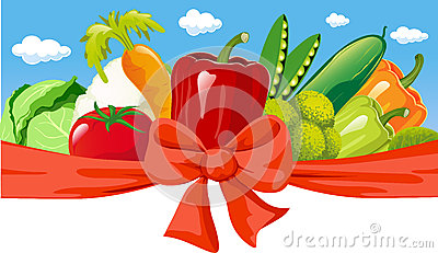 Horizontal design with vegetable