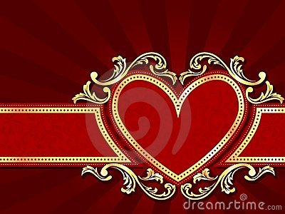 Horizontal heart-shaped red banner with gold filig
