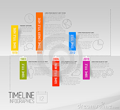 Free Horizontal Infographic Timeline Report Template With Rounded Labels Stock Photography - 40228742