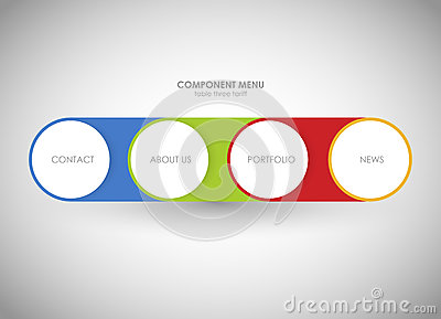 Horizontal menu Business concept with 4 options, parts, steps or processes. Template for diagram, graph. One two three Vector Illustration