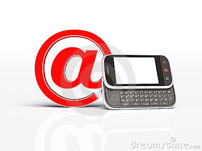 Horizontal mobile phone and email sign. isolated