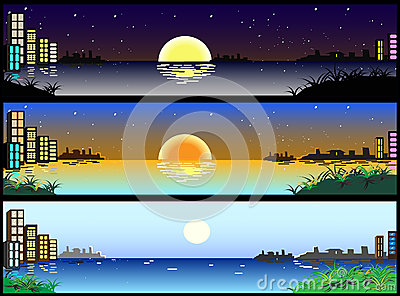 Horizontal night and day city banners