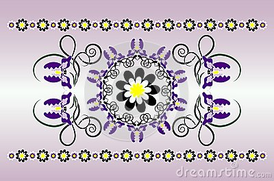 Horizontal ornament with iris