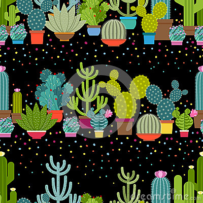 Free Horizontal Patterns Of Cactus In Flat Style Stock Photo - 57257110