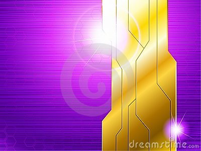 Horizontal purple and gold futuristic banner