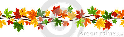 Horizontal seamless background with autumn maple l