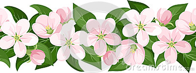 Horizontal seamless background with blossoms.