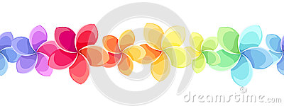 Horizontal seamless background with colorful flowers. Vector illustration. Vector Illustration