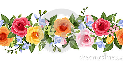 Horizontal seamless background with colorful roses and freesia flowers. Vector illustration. Vector Illustration