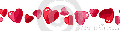 Horizontal seamless background with hearts.
