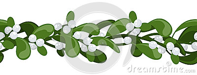 Horizontal seamless background with mistletoe.