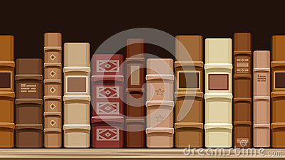 Horizontal seamless background with old books.