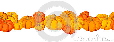Horizontal seamless background with pumpkins.