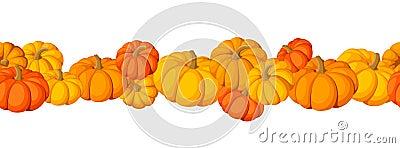 Horizontal seamless background with pumpkins.