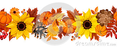Horizontal seamless background with pumpkins, sunflowers and autumn leaves. Vector illustration. Vector Illustration