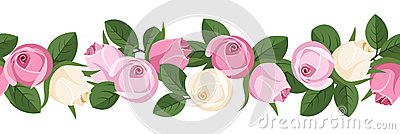 Horizontal seamless background with rose buds.