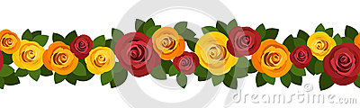 Horizontal seamless background with roses.