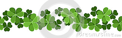 horizontal seamless background with shamrock.