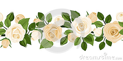 Horizontal seamless background with white roses.