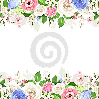 Free Horizontal Seamless Background With Pink, White And Blue Flowers. Vector Illustration. Stock Images - 70557704