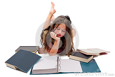 Teenage Girl Reading Book Isolated On White